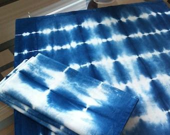 Set of four Shibori indigo dyed dinner napkins