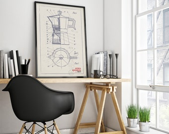 Coffee Machine Poster,  Moka Express - Italy - Technical draw, Poster, Digital Print, Wall-Art, Home Decor