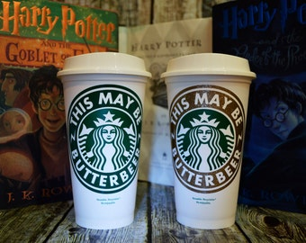 """Harry Potter Gift, Starbucks Coffee Cup """"This May Be Butterbeer"""" (Genuine Starbucks Cup)[Harry Potter Personalized Hogwarts House gift idea]"""