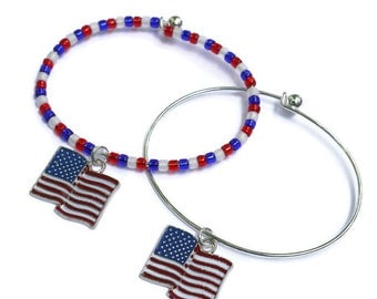 US Flag Bracelet - American Patriotic Gifts - 4th of July Outfit - Independence Day - Stackable Beaded Bracelets with Charms -Fourth of July