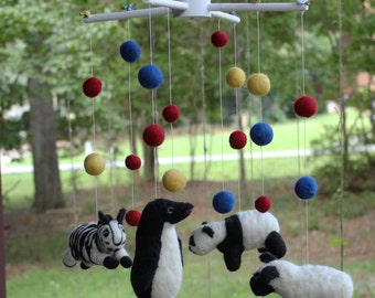 Needle Felted Nursery Mobile, Black and White Primary Colors Mobile, Childrens Baby Mobile
