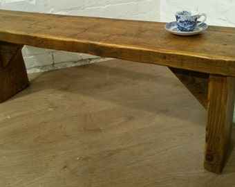 FREE DELIVERY! Extra-Wide 4ft Hand Made Reclaimed Old Pine Beam Solid Wood Dining Bench
