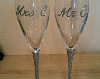 Champagne Flutes for Bride and Groom