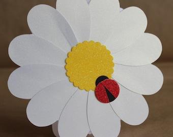 Daisy Card with Friendly Ladybug, Handmade Greeting Card