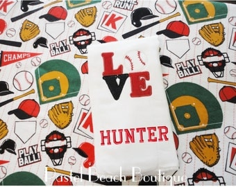 Baseball Burp Cloth * Baseball Swaddle * Personalized Baby * Sports Nursery * Baby Boy * Baby Shower Gift * Baby Blanket * New Baby Gift