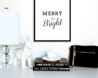Merry and Bright Sign, Christmas Printables, Christmas Prints, Digital Download, Digital Art, Instant Download