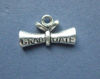 10 Diploma Charms - Diploma Pendants - Graduation Charms - Diploma - Graduation - Antique Silver - 21mm x 12mm -- (X8-10445)