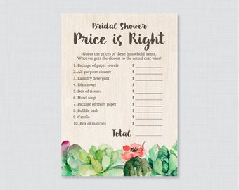 Succulent Bridal Shower Price is Right Game - Printable Rustic Bridal Shower Price is Right - Trendy Green Cactus Bridal Shower 0025