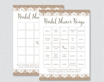 Burlap and Lace Bridal Shower Bingo Printable - 40 Unique Pre-filled Bingo Cards AND Blank Cards - Rustic Burlap Lace Bridal Bingo 0003