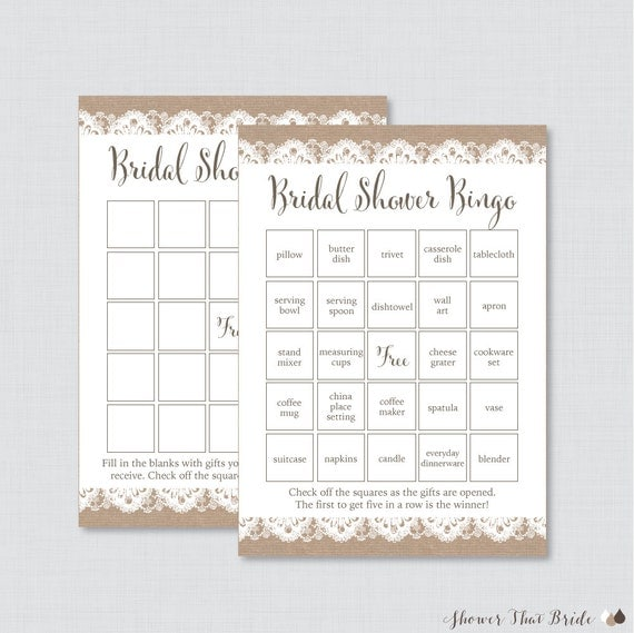 Burlap and Lace Bridal Shower Bingo Printable 40 Unique