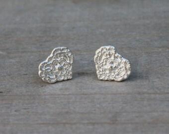 Lace hearts fine silver earrings