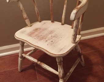 Vintage Child's Chair Bentwood Hand Painted Distressed Baby Nursery