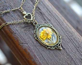 Dried Flower Collier Floral Resin Necklace Choker