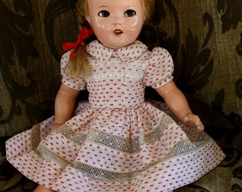 """Vintage early 1950's organdy and lace Doll dress with raised polka dots and beautifully detailed for your 15""""-16"""" composition and HP dolls"""