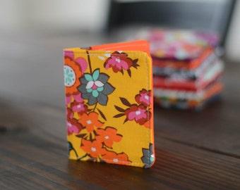 Slim Wallet - Thin Wallet - Floral Wallet - Bi-fold Wallet - Orange Wallet - Business Card Holder - Handmade Wallet - Yellow Wallet