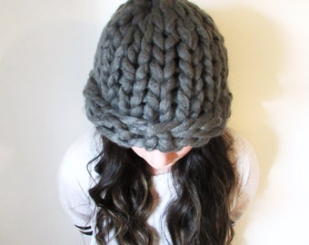 Super Chunky Knit Hat, Oversize Hat, Thick Knit Beanie, Huge Hat, Chunky Winter Hat, Jumbo Knit Hat, Giant Hat, Gray Hat, Gift for Her