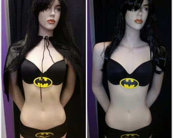 Superhero Batman Bra, Shorts, & Cape Set!