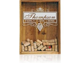 """12""""x16"""" Wine Cork Holder, Wine Cork Shadow Box, Wine Cork Wedding Gift, Monogrammed Shadow Box, House Warming Gift"""
