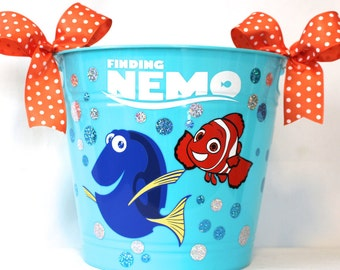 Finding Nemo Easter Basket, Personalized Storage Bin, Waste Basket, Toy Box, Toy storage bin - Finding Nemo  made with Vinyl