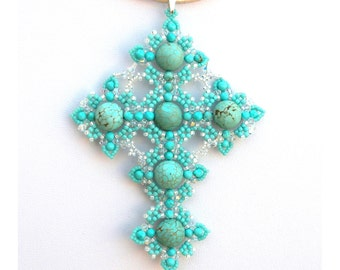 Turquoise. Beaded Cross. Necklace. 925 Sterling Silver. Woman Pendant. Swarovski Crystals. Vintage Cross. Bohemian Necklace. Cross Religious