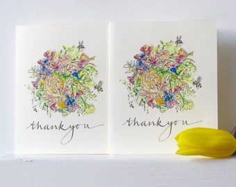 Thank you card - set of six - hand-drawn bouquet of flowers - say thanks!
