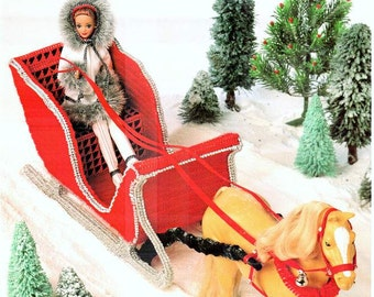 Sleigh Ride, Fashion Doll Christmas playset plastic canvas pattern, fits Barbie and horse, design by Mickie Akins, Annie's Attic book 87S74.