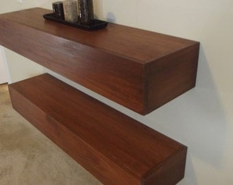 "Hardwood Media Floating Shelves - Modern Design - 12"" deep / 36"" long"