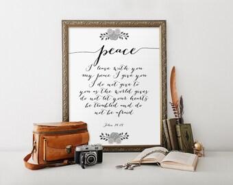 Bible verse printable, Printable quote art, Scripture print, Bible quotes, Scripture art, Wall art decor, Christian print, John 14:27 BD-764