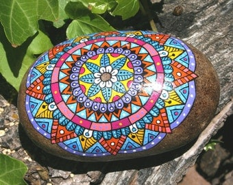 Hand Painted Stone Mandala Native American Grinding Stone Garden Art for Meditation and Inspiration