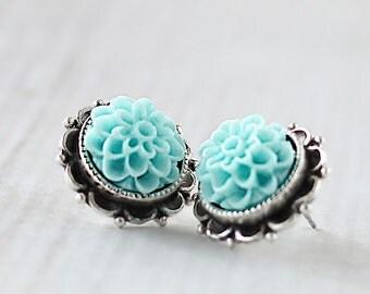 Dahlia Flower Earrings - Bridesmaids Flower Earrings - Aqua Earrings - Flower Studs - Garden Wedding - Silver Post Earrings -Hypoallergenic