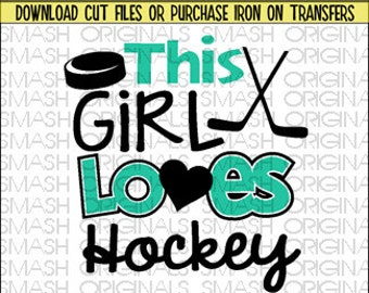 This Girl Loves Hockey Iron on Decal Vinyl