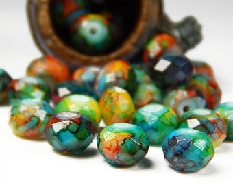 20 Pcs - 6x8mm Marble Picasso Glass Beads - Multicolor - Faceted - Rondelle - Jewelry Supplies