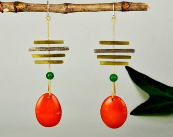 Tagua earrings, mixed metals drops, vegetable ivory nuts, shoulder drops, extra long earring, gift under 30, duster earrings, orange drops.