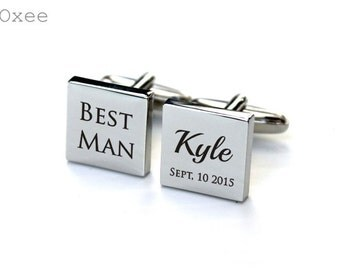 Cuff links, engraved cufflinks, personalized stainless steel cuff links, best Man cuff links