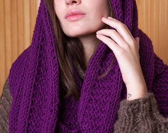 Purple oversized cowl, bulky scarf, infinity cowl, loop, circle scarf, womens knits, winter accessory, gift for her, soft, warm neck collar