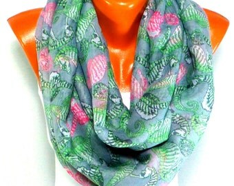 Scarf, Shalwl,  infinity Scarf, Seahorse printed Scarf, Seahorse pattern, Lightweight Summer Scarf, Gifts for Mothers day, for christmas