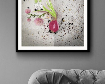 Sweet Onion -  original art, crows, dancers, art prints, kitchen print, kitchen art, wall art photo print.