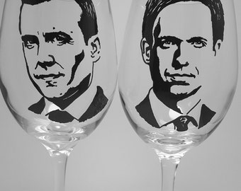 Hand painted wine glass, Suits, Gabriel Macht, Patrick J. Adams, Painted glass