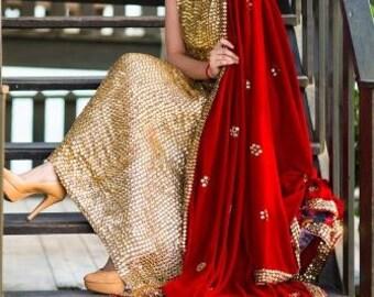 Pakistani Indian Dress - Golden Goddess Sparkling Gown Anarkali with Velvet Dupatta Indian/Pakistani