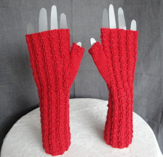 Long Arm Warmers Knitting Pattern : red arm-warmers knitted fingerless gloves cabled texting