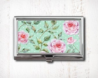 Shabby Chic Floral Business Card Case, Business Card Holder, Card Case, Card Holder, Vintage Floral, Turquoise Floral, Retro Floral