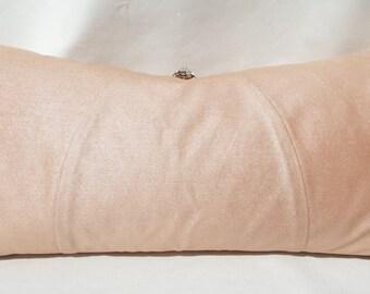 Dusty pink metallic pillow, Diamante trim,Lumbar pillow,Oblong cushion,Rectangular pillow