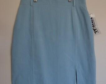 Vintage Blue Velvet Knee Length Skirt Pastel Blue