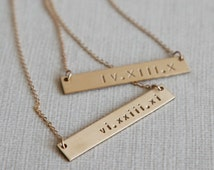 Roman Numeral Necklace/Nameplate Necklace/Personalized Bar/Layering/Gold Name Bar/14k Gold Fill/Sterling Silver/Bridesmaid Gift/N131G