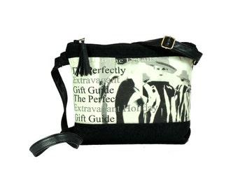 Black and white Crossbody bag, Small cross body bag, Shoulder bag for women handbag, Fabric bag, Small everyday bag, Small hobo bag,