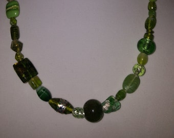 Green Necklace - Green Jewelry - Variety of Green Glass Beads - Green earrings - Various Size Beads - Green Variety - Envy Green