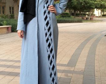 Denim Criss-Cross Abaya / Dubai Abaya / Hijab Fashion Abaya / Modern Abaya / Blue Abaya / Abaya with Flowers / Hand-made / Plus Size Abaya
