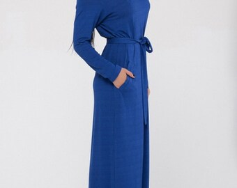 Long Casual Dress Cobalt Blue Dress With Long Sleeves Loose Maxi Dress With Belt, Spring Dress Blue Jersey