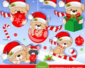 Christmas puppy clipart, Christmas clipart, Puppy clipart, Dog clipart, Commercial use - CA291