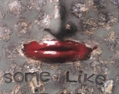 Some like it hot wall sculpture, modern black art tile, Nina Simone art wall hanging, red lips, chilli lover kitchen decor